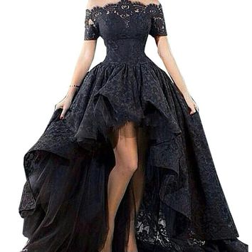 LORIE Charming Black Lace Evening Gown Hi Low Off the Shoulder Party Short Front Long Back Prom Evening Dress Vestido longo 2017