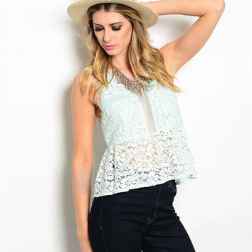 Women Fashion Sheer Lace Mint Sleeveless Peplum Top Blouse Shirt Vest Casual