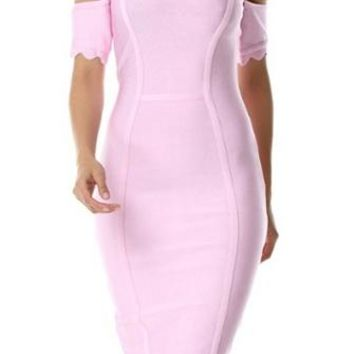 Crushing It Ruffled Off The Shoulder Bodycon Bandage Midi Dress - 2 Colors Available