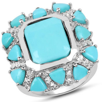9.37 Carat Genuine Turquoise & White Topaz .925 Sterling Silver Ring