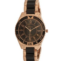 """8"""" Black and Rose Tone Fashion Watch"""