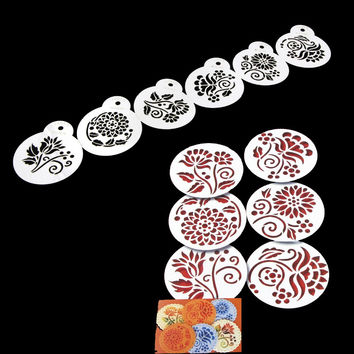6Pcs/Set Cake Stencil Decorative Various Flower Pattern Cupcake Stencil Mould Spray Cookie Cup Cake Decorating Tools
