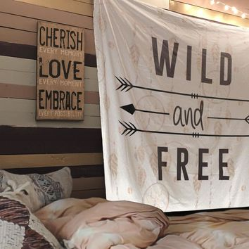 Reiki Charged Wild and Free Quote Tapestry Wall Hanging Meditation Yoga Grunge Hippie Wanderlust