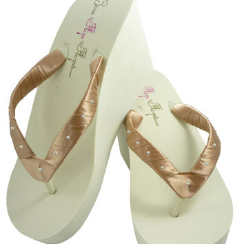 Wedge Flip Flops with Swarovski pearl accents - Ivory Pecan in 3.5, 2 or 1.25 inch heel, Bridesmaid Bride Flip Flops for the Wedding