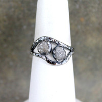 Raw Diamond Duo Ring - Sterling Silver - Pair of Rough Diamonds - Engagement Rings - April Birthstone - Rustic Jewellery - Anniversary Ring