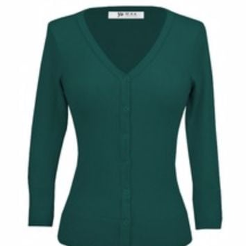 MAK Plus Size Classic V Neck Button Down Cardigan Sweater Peacock