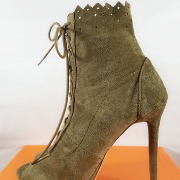 "Danielle Olive Stretch Vegan Suede - 4.5"" Heel Lace Up Design Ankle Boot"