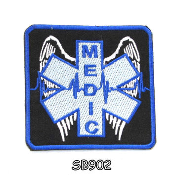 MEDIC WITH WINGS Iron on Small Badge Patch for Biker Vest SB902