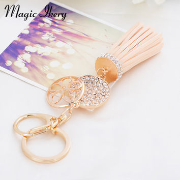 Gold Plated Fashion casual leather tassels keychain