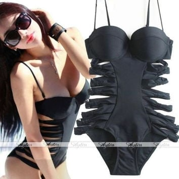 Sexy Womens Cut Out Hollow Push Up Padded Monokini Swimsuit One Piece Swimwear = 1946061636