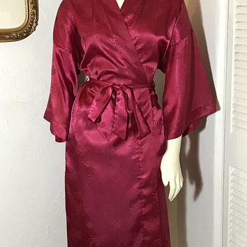 Silky Vintage Ladies SAKS FIFTH AVENUE Robe / Lightweight Luxury Bath Robe / Iridescent Burgundy Red Color / Sexy Classic Boudoir Lingerie