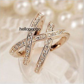 Elegant Jewelry 18K Rose Gold GP SWAROVSKl Crystal Cross Wide Party Ring