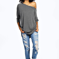 Elsa Raglan Sleeve Oversized Curved Hem Tunic