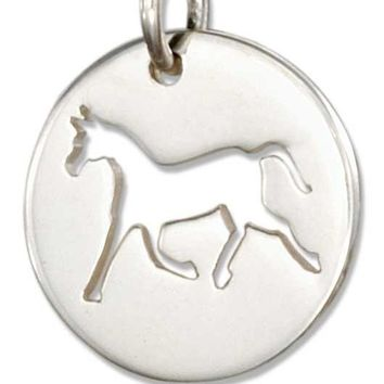 STERLING SILVER ROUND DISK WITH CUT-OUT SILHOUETTE HORSE CHARM