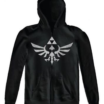 Nintendo Legend of Zelda Twilight Princess Triforce Black Adult Full Zip Hooded Sweatshirt - Nintendo - | TV Store Online