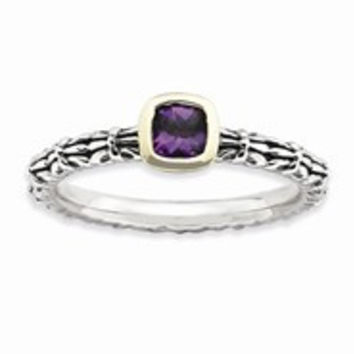 Sterling Silver & 14k Yellow Gold Checker-cut Amethyst Antiqued Ring