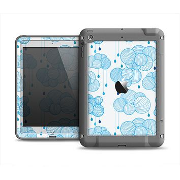 The White and Blue Raining Yarn Clouds Apple iPad Air LifeProof Fre Case Skin Set