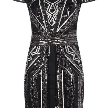 Boutique Liv Sequin Cap Sleeve Shift Dress