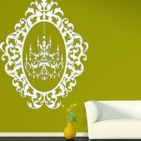 Wall Sticker Vinyl Decal Chandelier Beautiful Oval Frame For Decoration Unique Gift (n178)