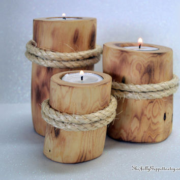 Set of 3 Beach Pier Candle Holders, Juniper Wood, Nautical Decor , Home Decor, Beach Wedding, Beach Magic, by The Jolly Geppetto
