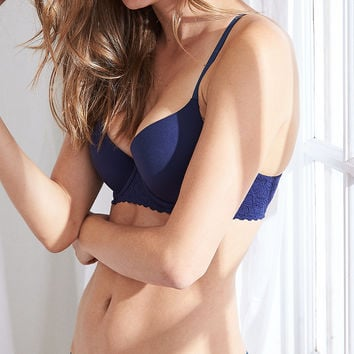Sunnie Demi Coverage Pushup Bra, Navy
