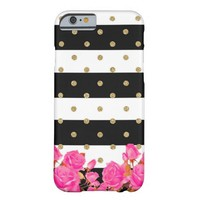 Pink Roses Flowers Stripes Poolka Doot Iphone Case Barely There iPhone 6 Case