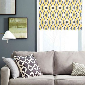 Quick Fix Washable Roman Window Shades Flat Fold, Yellow Ikat