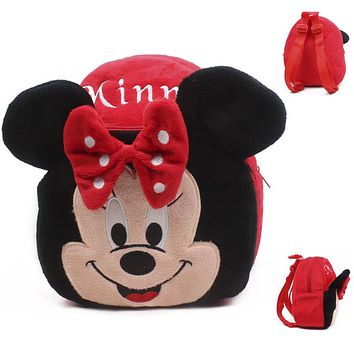 New Cartoon Minnie Mickey Backpacks for Kids Girls Plush Adjustable Schoolbags Small Soft Toy Knapsack Children Bags Kid Girls