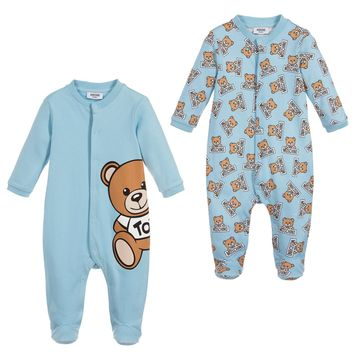 Moschino Baby Boys Blue Romper Two Piece Gift Set