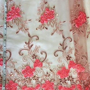 "52"" Inches,Gorgeous Mesh with Embroidery, Sequins, Ribbon, Scallops, Floral Design and Metallic Thread on Both Borders, 2 Yard Lot, Many Colors"