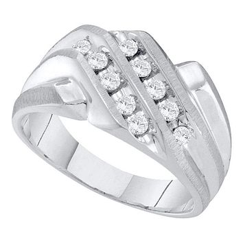 10kt White Gold Men's Round Diamond Cluster Band Ring 1/3 Cttw - FREE Shipping (US/CAN)