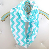 Tiffany Blue Chevron infinity soft scarf