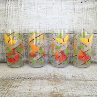Tumbler Glasses 4 Vintage Drinking Glasses Colorful Butterfly Glasses Mid Century Butterflies and Bamboos Barware Retro Glassware