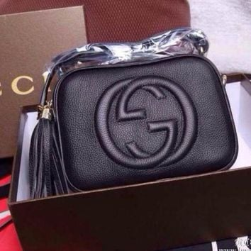ONETOW Gucci' Women Simple Fashion Classic Logo Embossed Tassel Zip Camera Bag Single Shoulder Messenger Bag
