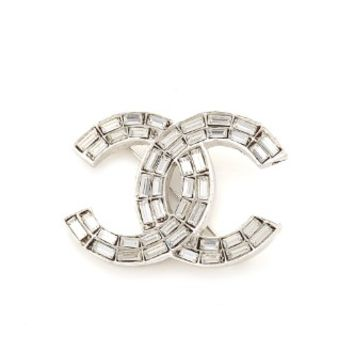 Chanel Crystal CC Brooch (Previously Owned)
