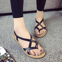 Summer Fashion Sandals Flat Shoes Bandage Bohemia Leisure Lady Sandals