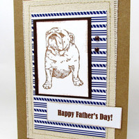Father's Day Card - Happy Father's Day - Bulldog Card - Brown and Blue Card - Card for Dad - Dog Card - Burlap Card - Blank Card