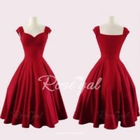 Retro Sweetheart Neck Solid Color Sleeveless Dress For Women