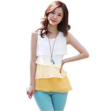 2017 Women Blouse Shirts Spring Summer Style Flounce Tiered Tops Round Neck Sleeveless Chiffon Shirt Fashion New Blusa Chiffon