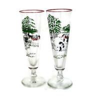 Vintage Pilsner Glasses, Retro Barware, Beer Glass, Harvest Scene, Farmhouse, Wheat Harvest, Mad Men, Mid Century, Set of 2