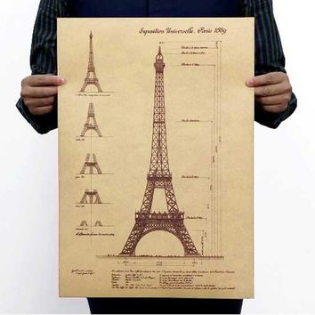 Vintage posters Design drawings Retro hand-drawn sketches building map Restoring ancient ways, wall stickers, mural decoration