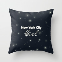 NY City Girl Throw Pillow by Pati Designs | Society6