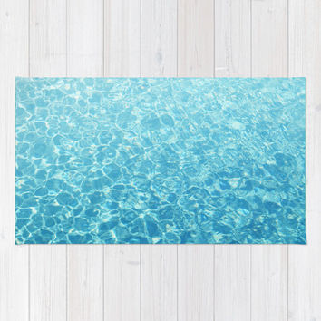 Crystal Oceans - Beach Towel, Aqua Blue Surf Ombre Style Blanket, Large Sized Nautical Fashion Accessory Sun Tanning & Bathing Towel. 36x72