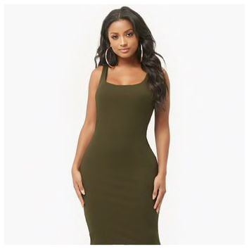 Ribbed Bodycon Dress Olive