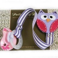 SALE Lavender And Pink Owl PACIFIER CLIP by PrettyBabyBowtique