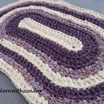 Royal Amethyst crocheted oval shape rag rug, eco friendly, washable, bath mat, durable, purple, baby yellow, floral, kitchen rug, home decor