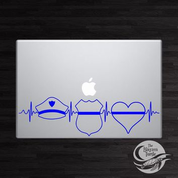 Police Blue Line Heartbeat / Law Enforcement/Back The Blue / Car /Computer vinyl decal