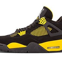 "Nike Mens Air Jordan 4 Retro ""Thunder"" Black/White-Tour Yellow Leather Basketball Shoes"