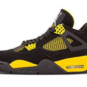 "Nike Mens Air Jordan 4 Retro ""Thunder"" Black/White-Tour Yellow Leather Basketball Shoes Size 14"