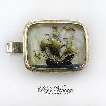 Reverse Painted Tie Clip, Vintage Gold Plated Intaglio Cut Painted Ship, Tall Mast Sailing Ship, Bubble Glass Tie Bar